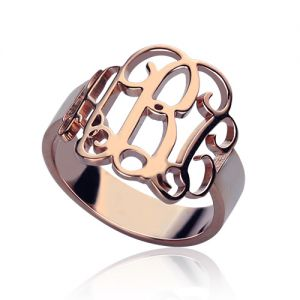 Personalized Rose Gold 3 Initials Monogram Ring