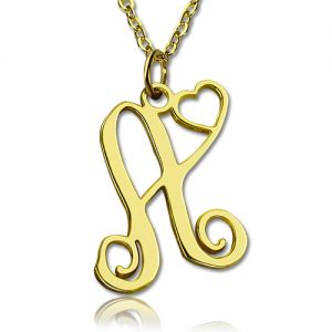 Personalized One Initial With Heart Monogram Necklace Solid Gold