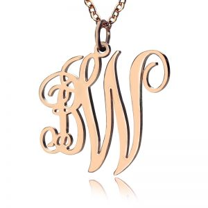 Personalized Vine Font 2 Initial Monogram Necklace Solid Rose Gold