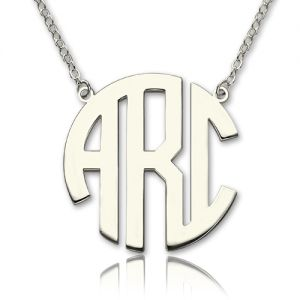 Solid White Gold Initial Block Monogram Pendant Necklace