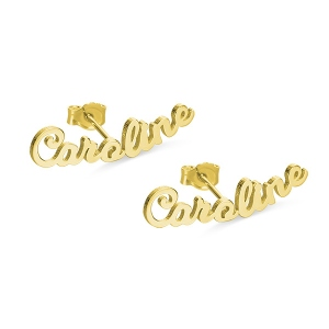 Customized Stud Nameplate Earrings for Her in Gold