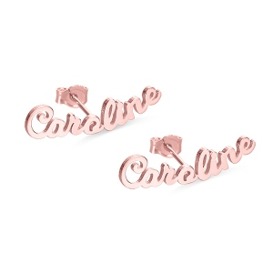 Personalized Name Stud Earrings for Her in Rose Gold