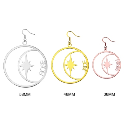 Personalized Name North Star Earrings