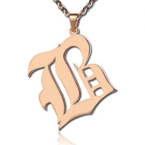 Rose Gold Plated Silver Retro English Style Initial Necklace