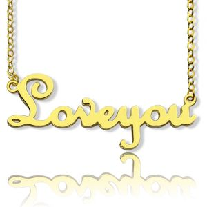 Personalized Solid Gold French Font I Love You Name Necklace