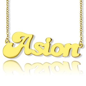 Personalized Solid Gold BANANA Font Style Name Necklace