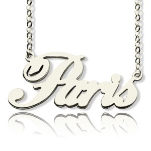 Paris Hilton Style Name Necklace Solid White Gold