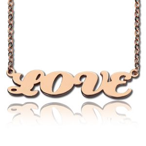 Cable Chain Capital Letters Name Necklace Rose Gold