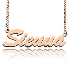 Solid Rose Gold Sienna Style Name Necklace