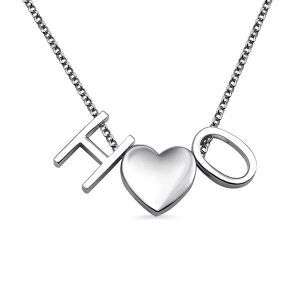 Personalized Two Letters Heart Necklace Sterling Silver