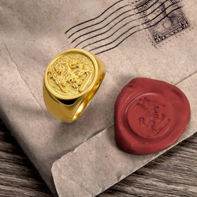 Personalized Wax Seal Family Signet Ring