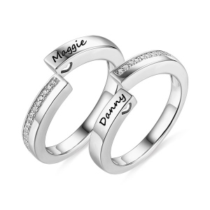 Engraved Combination Infinity Design Ring For Couples