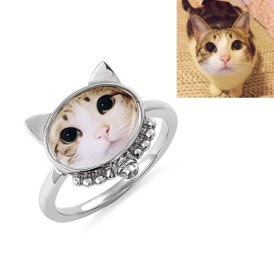 Personalized Cat Head Photo Ring Sterling Silver