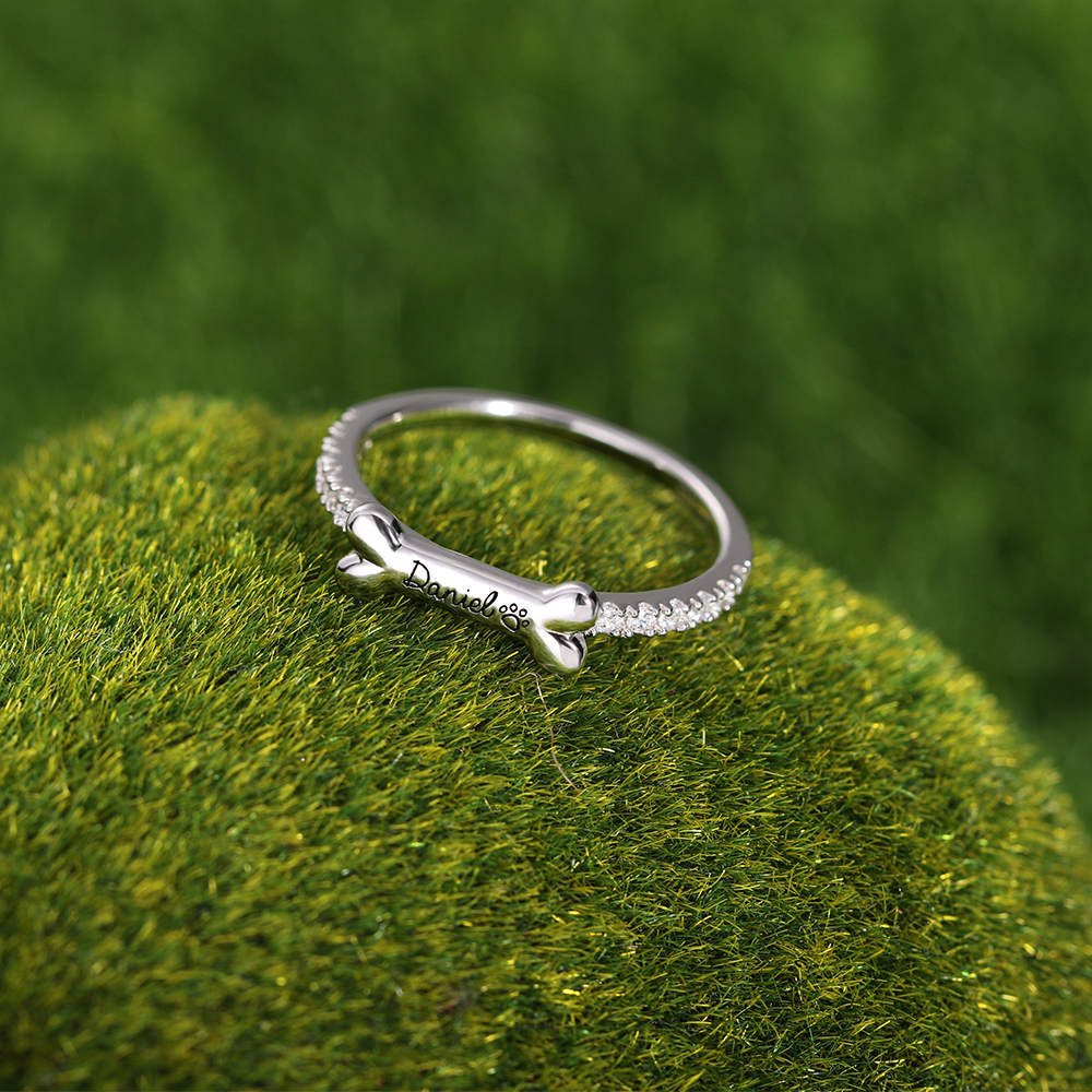 Engraved Ear & Bone Shaped Pet Ring