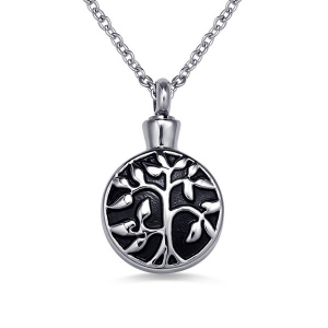 Tree of Life Necklace with a Cremation Urn Design in Stainless Steel