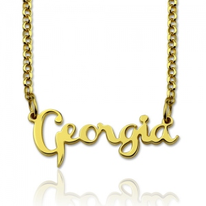 Personalized Celebrity Name Necklace Gold Plated Silver