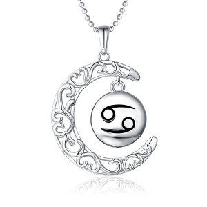 Customized Hollow Moon With Zodiac Sign Necklace