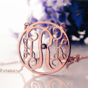 Rose Gold Circle Birthstone Monogram Initial Necklace
