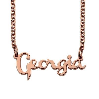 Personalized Cursive Style Name Necklace In Rose Gold