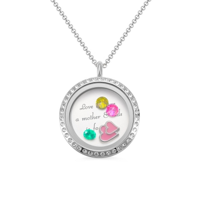 Engraved Birthstones Locket: Love Gift For Mom