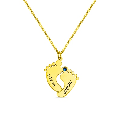 Birthstone Baby Feet Charms Necklace with Date & Name Gold