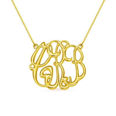 Celebrity Cube Premium Monogram Necklace Gift 18K Gold Plated