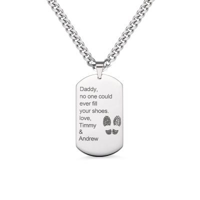 Father's Day Gift: Titanium Steel Dog Tag Name Necklace