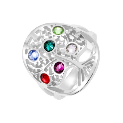 Personalized Mother's Day Ring with Birthstones Sterling Silver
