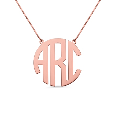 Rose Gold Initial Block Monogram Pendant Necklace