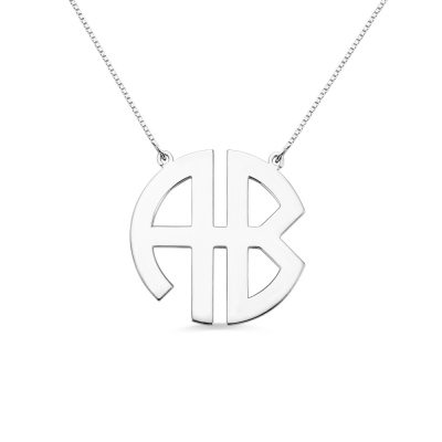 Personalized Silver Two Initial Block Monogram Pendant