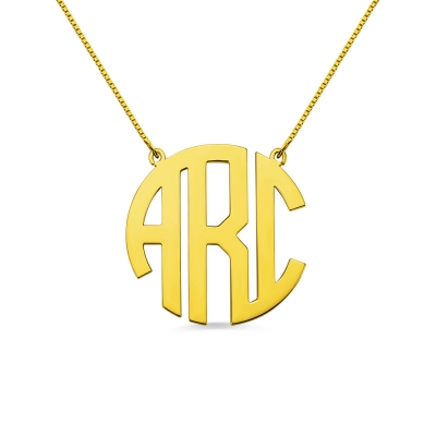 18K Gold Plated Block Monogram Pendant Necklace