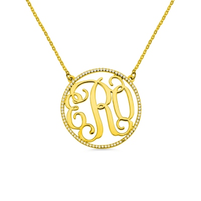 18K Gold Plated Circle Birthstone Monogram Necklace