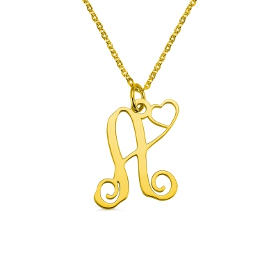 Single Letter Monogram With Heart Necklace Gold Plated