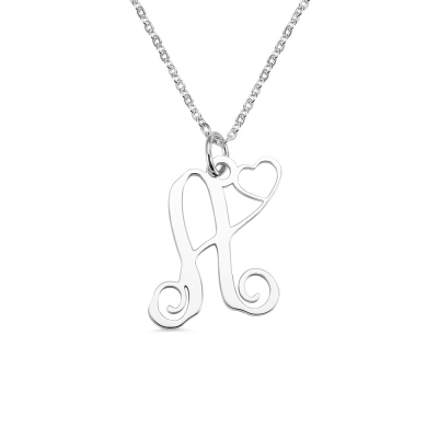 One Initial Monogram Necklace With Heart Silver