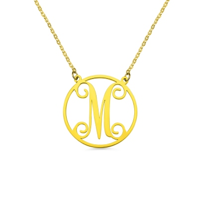 18K Gold Plated Single Monogram Letter Necklace