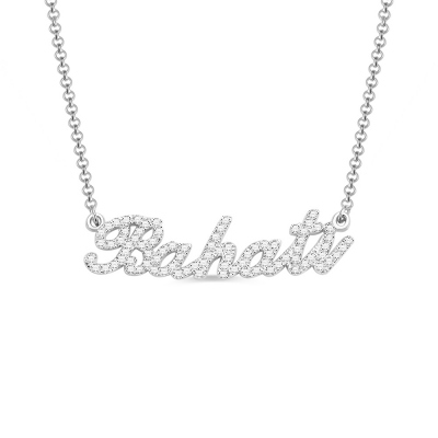 Sterling Silver Full Birthstone Carrie Name Necklace