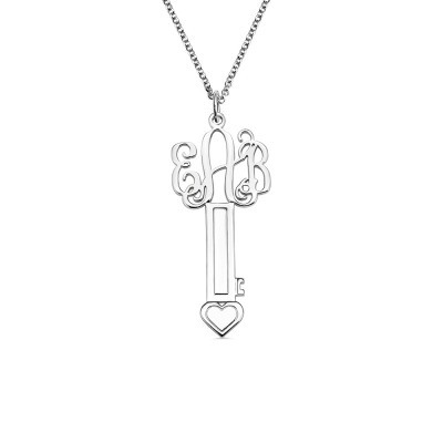 Monogram Key Necklace Sterling Silver with Heart