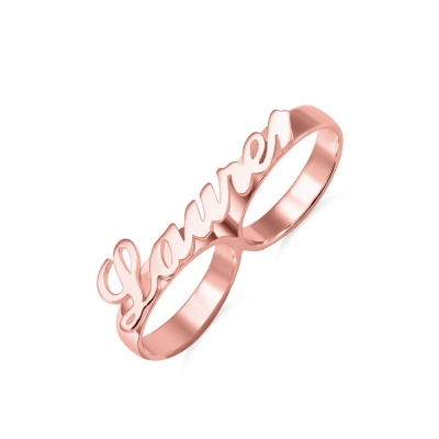 Personalized Allegro Two Finger Name Ring Rose Gold