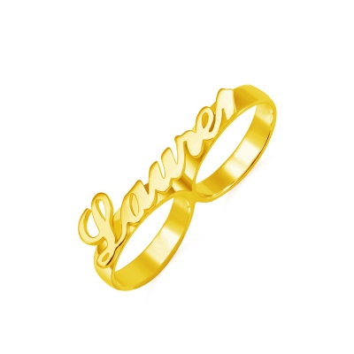 Custom Allegro Two-Finger Nameplated Ring 18k Gold Plated