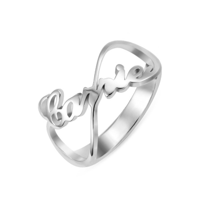 Personalized Love Knot Ring Engraved Name Sterling Silver