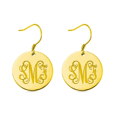 Disc Signet Monogram Earrings In Gold