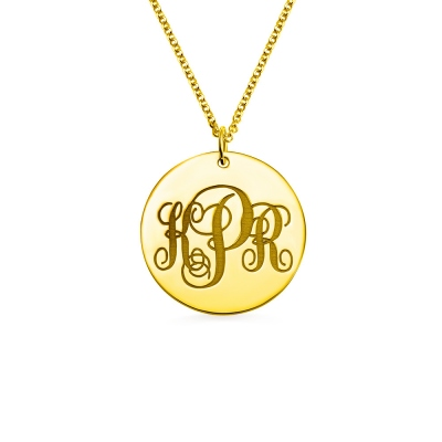 Disc Script Engraved Monogram Necklace 18K Gold Plated