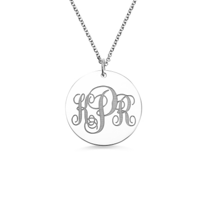 Engravable Disc Monogram Initials Necklace Sterling Silver