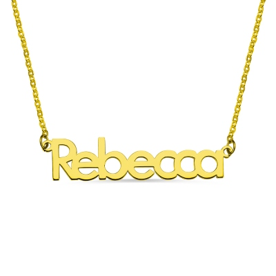 "Nameplate Necklace 18K Gold Plating ""Rebecca"""