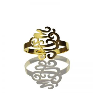 Monogram Cuff Bracelet Hand Write 18K Gold Plated