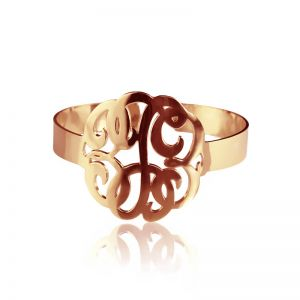 Hand Drawing Monogram Initial Bracelet 1.6 Inch Rose Gold Plated