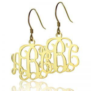 Solid Gold Personalized Monogram Earrings