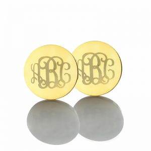 Circle Monogram 3 Initial Name Earrings Solid Gold