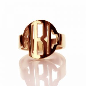 Personalized Circle Block Monogram 3 Initials Ring Solid Rose Gold