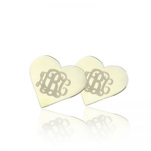 Heart Monogram Earrings Studs Custom Solid White Gold